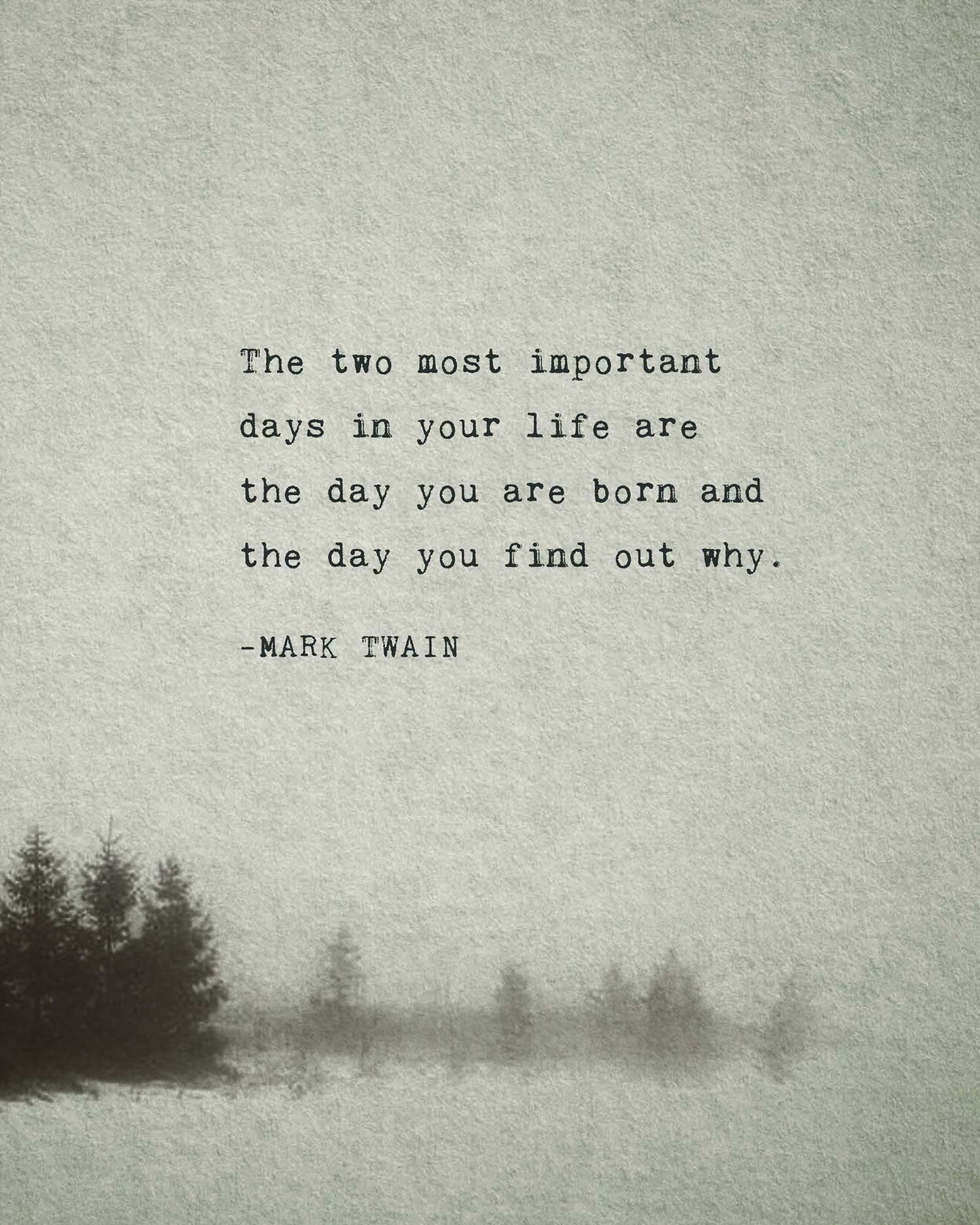 Mark Twain Quote The Two Most Important Days In Your Life Etsy In 2021 Mark Twain Quotes Intelligence Quotes Path Quotes