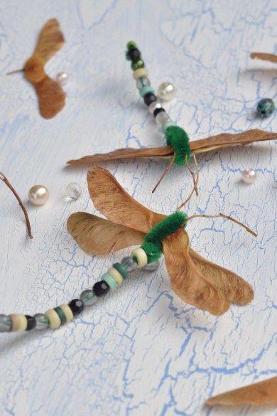 Libellen basteln - Kreativ mit Naturmaterial #bastelnmitkastanienkinder