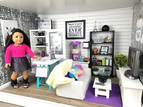 American Girl Doll Living/Study Room - YouTube #americangirlhouse
