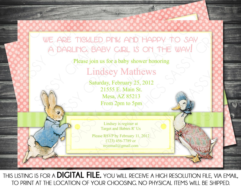 Girl Baby Shower Invitation - Peter Rabbit Theme, Pink, Polka Dots ...
