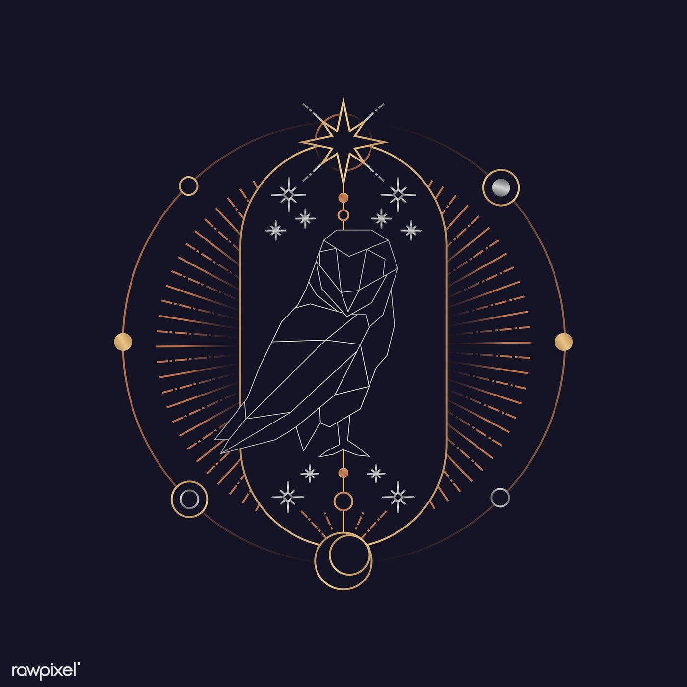 Download premium vector of Geometric owl mystic symbol