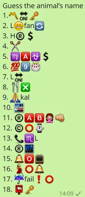 Guess The Animal S Name Whatsapp Picture Quiz Whatsapp Jokes Quiz Puzzles Riddles And Messages Whatsapp Pictures Guess The Emoji Answers Emoji Quiz