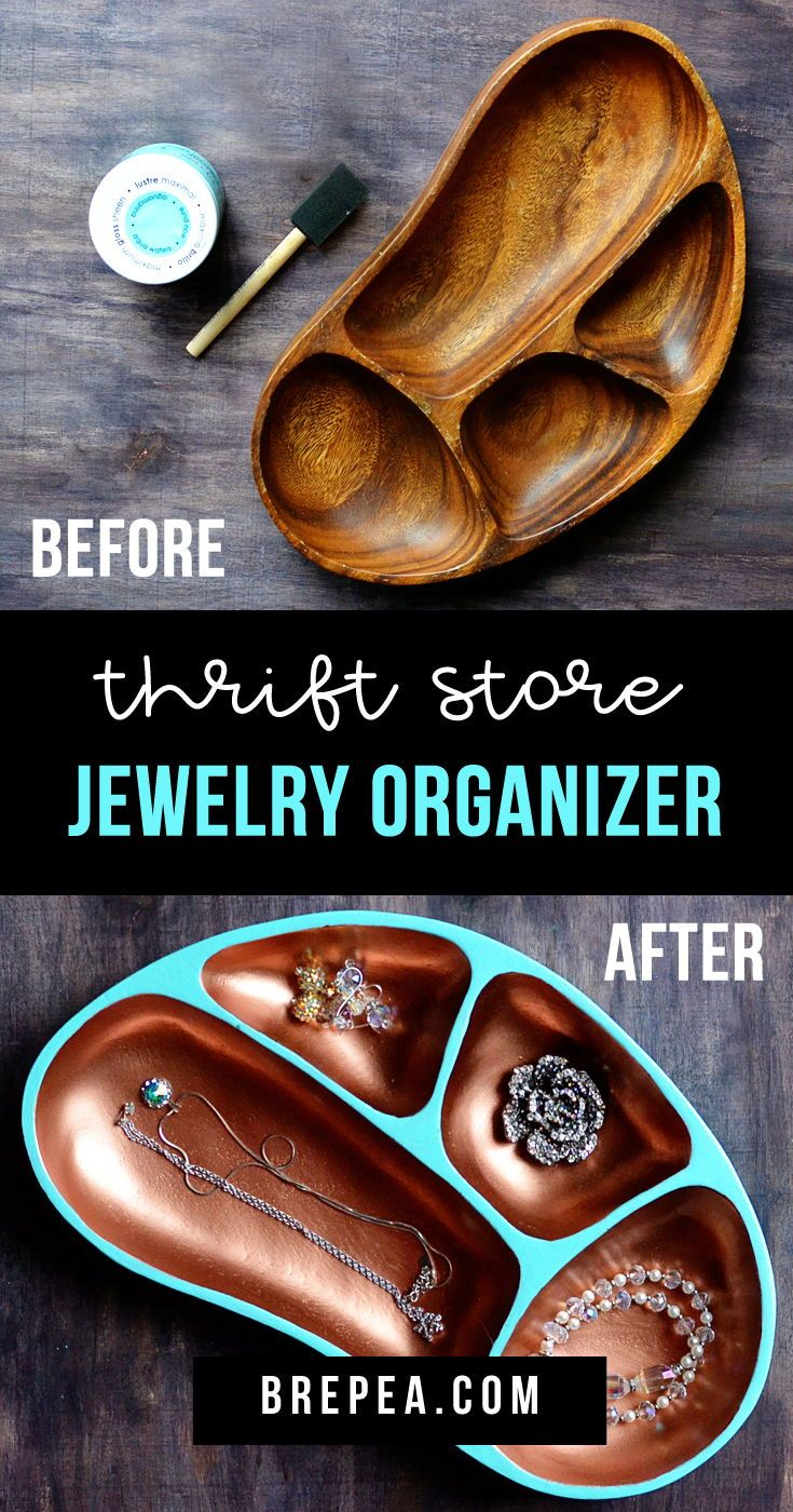 Easy Thrift Store DIY Jewelry Organizer #thriftstoreupcycle