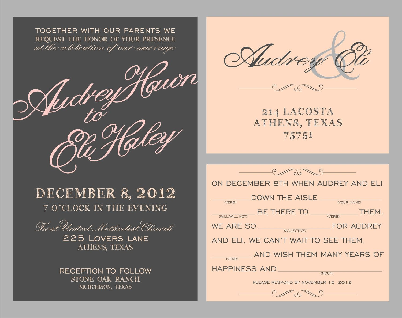 Wedding Invitations//script//mad lib rsvp postcard customized for ...
