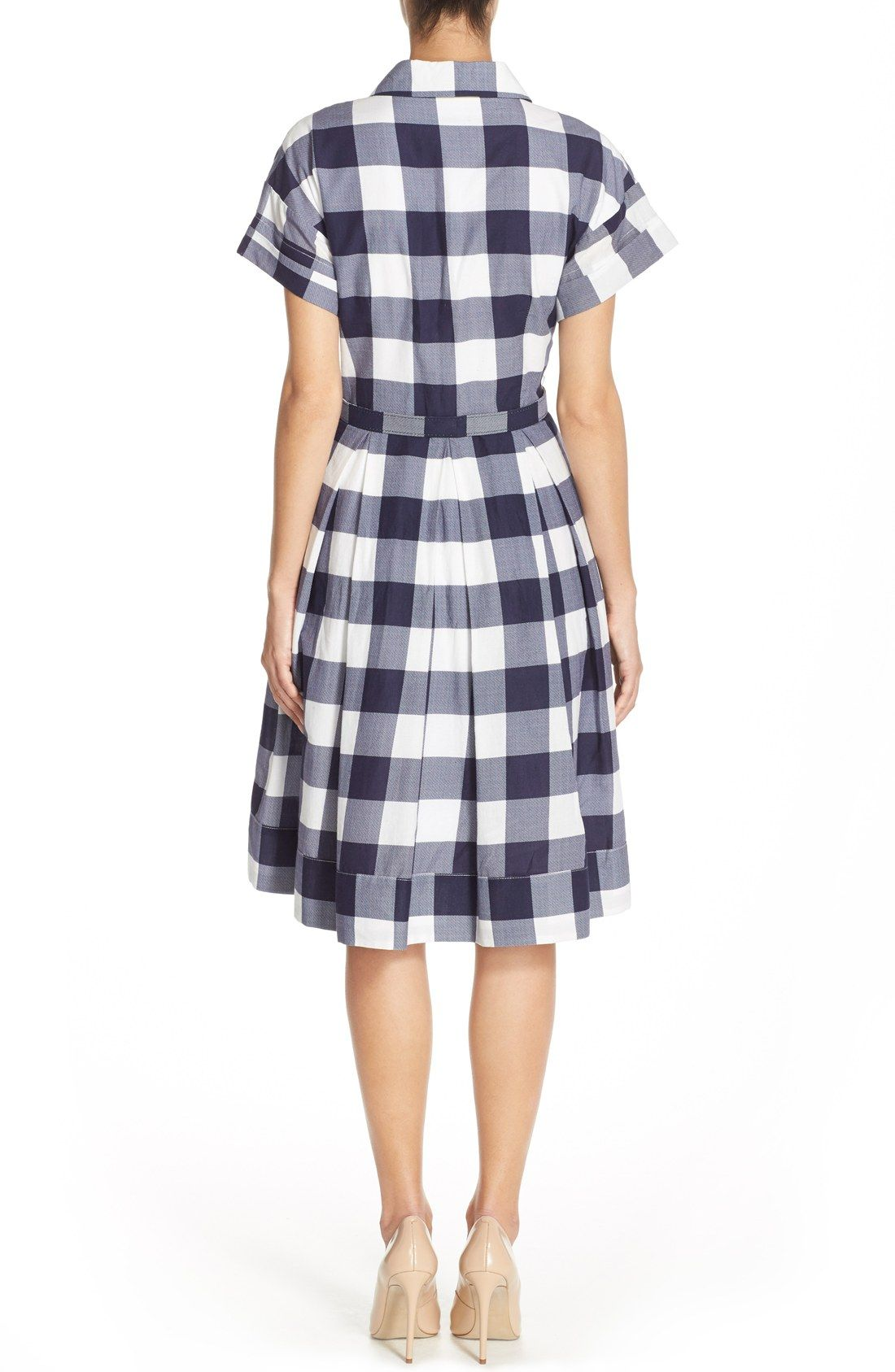 Eliza j gingham shirt dress regular u petite 洋服のデザイン