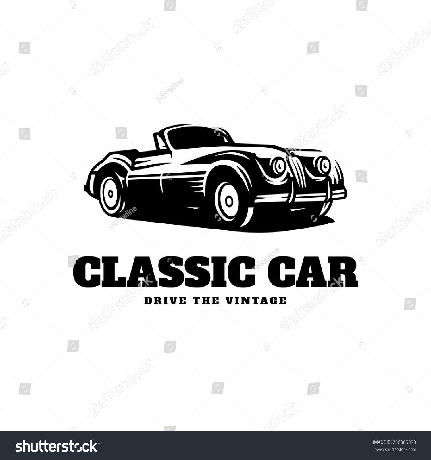 Classic Car Illustration Classic Car Logo Stock Vector (Royalty Free) 756885373