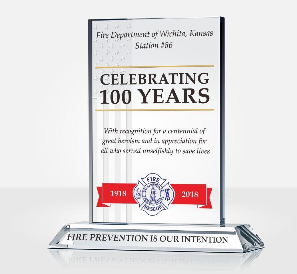 Fire Department Anniversary Celebration Plaque