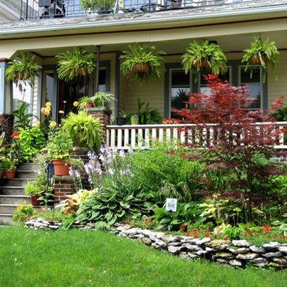 Lovely Front Porch Garden Porch Landscaping Front Porch Garden