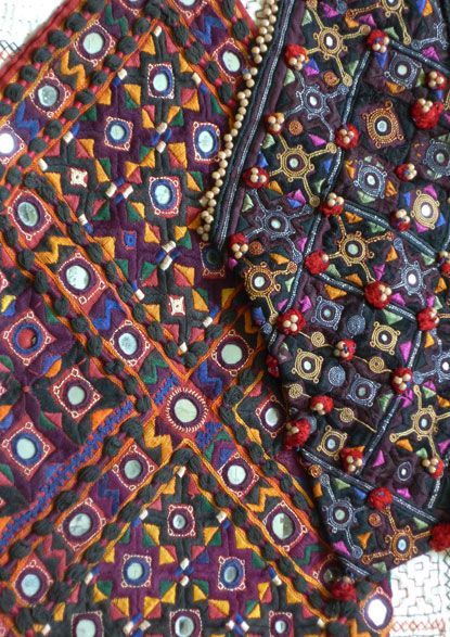 "Si Threads: Rajasthani textiles: ""The age, the condition and the rich, deep colors were something of a revelation. Look at these marvelous, broodingly dark backdrops to the little shimmering drops of mirror work."""