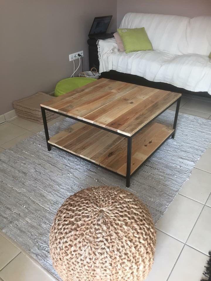 meuble table basse industriel acier/bois de palettes - Meuble Design Metal