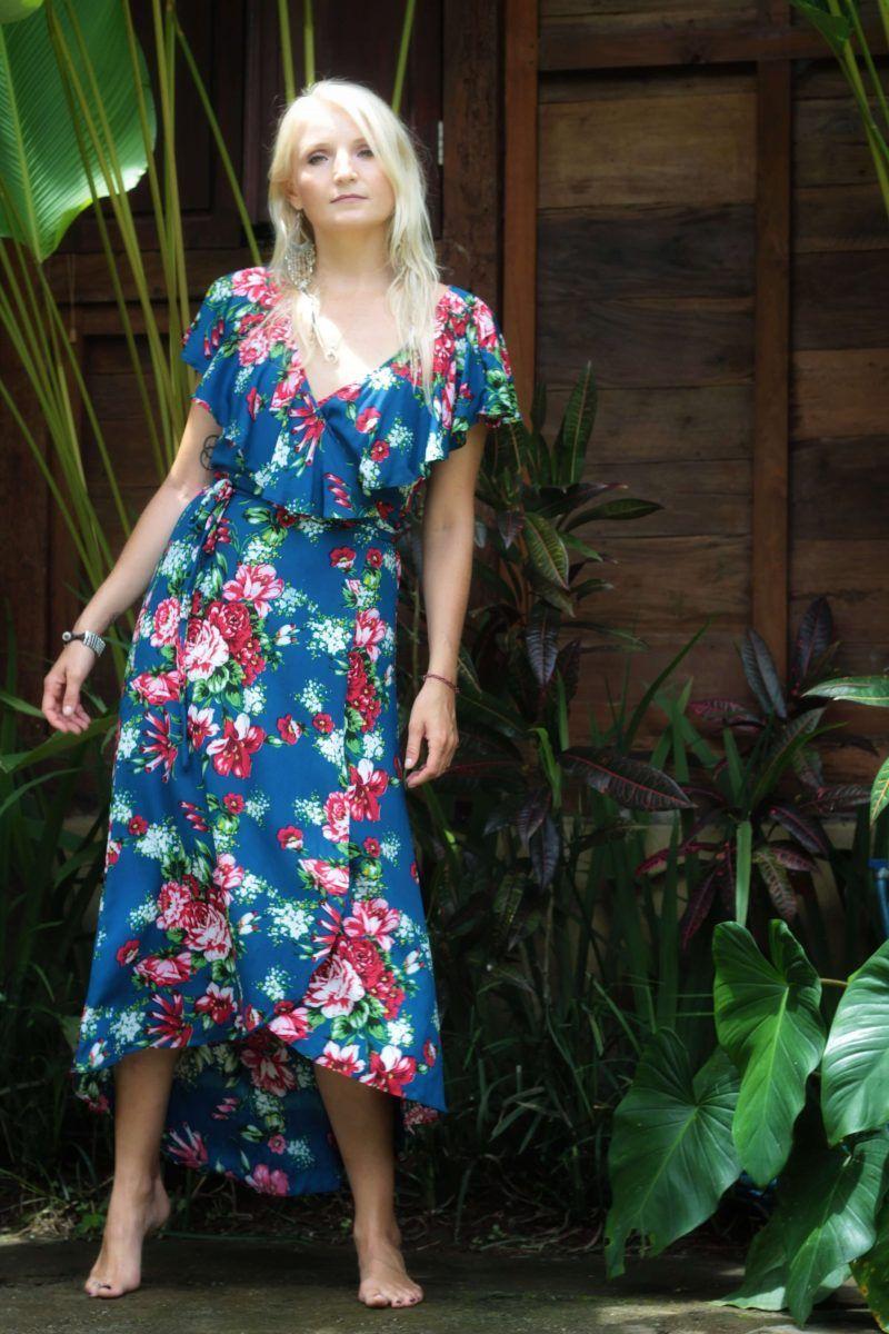 Blumen Wickelkleid Blau Loving You Is Easy Wickelkleid Sommerkleid Kleider
