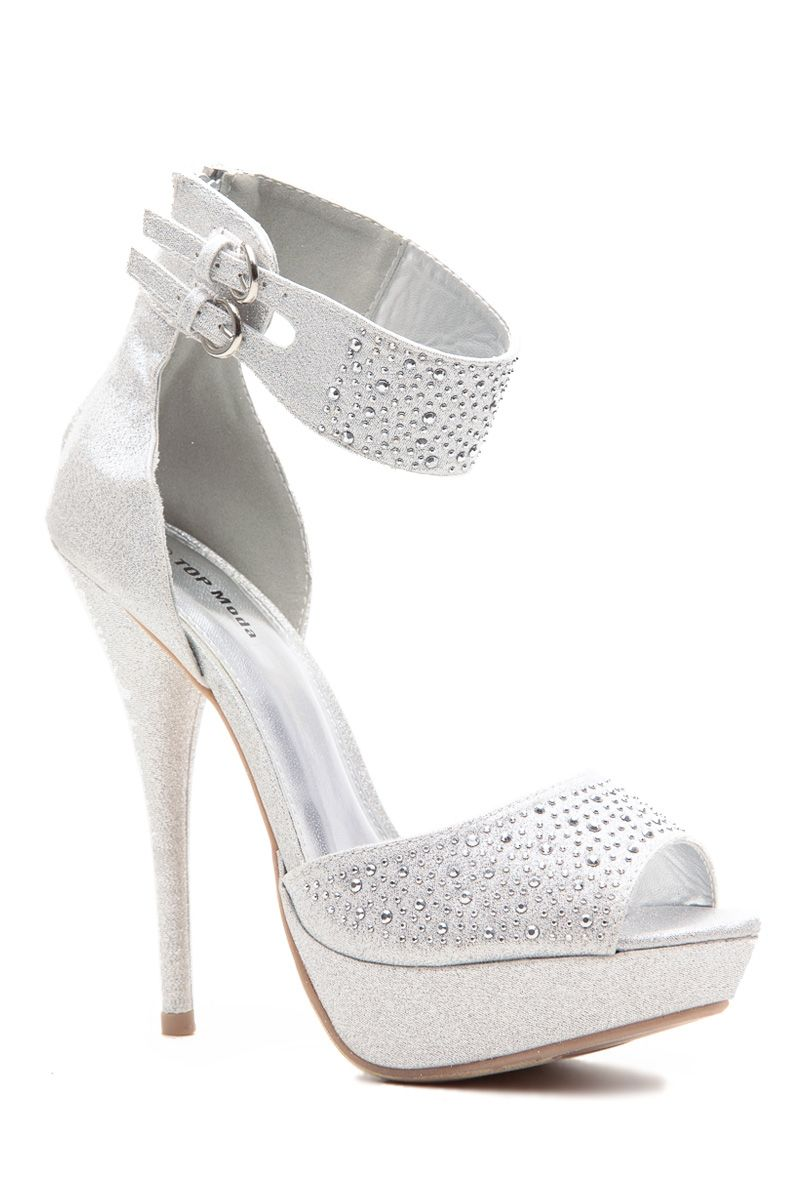 07165814e1952 Silver Glitter Piped Ankle Strap Peep Toe Platform Heels @ Cicihot ...