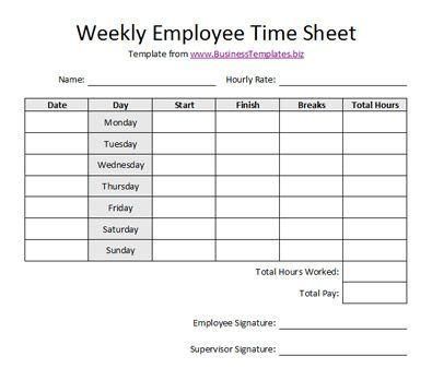 Free Printable Timesheet Templates Free Weekly Employee Time Sheet - Free Online Spreadsheet Templates