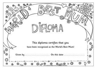 Worlds Best Mum Diploma Mothers Day Crafts Mothers Day