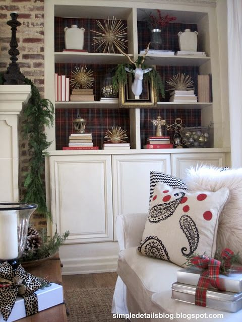 Love The Color Texture Background Jg Tartan Plaid Christmas Mantel And Bookcases Diy Urchins Faux Taxidermy Simple Details