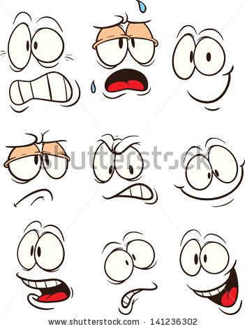 Cartoon faces. Vector clip art illustration. Each on a separate layer. - stock vector