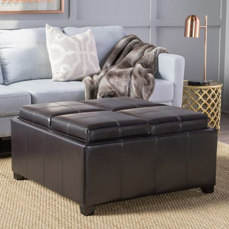 Pleasing Noble House Darla 4 Tray Top Bonded Leather Storage Ottoman Short Links Chair Design For Home Short Linksinfo