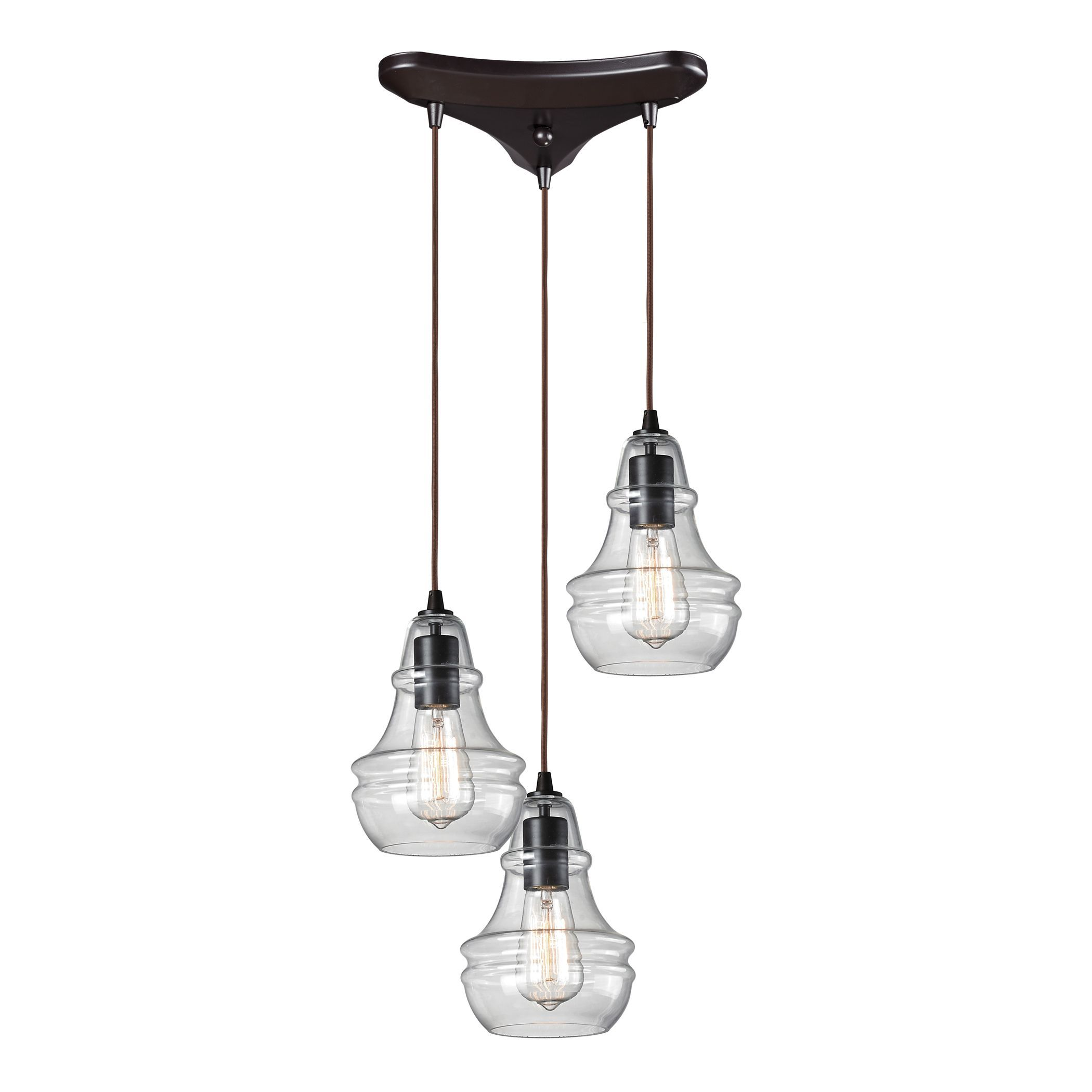 The Menlow Park 3-light pendant showcases a cluster design of three glowing lights each housed in a clear beveled glass shade. Suspended from dark oiled bronze hardware, this handsome pendant will bring simple sophistication to your home.