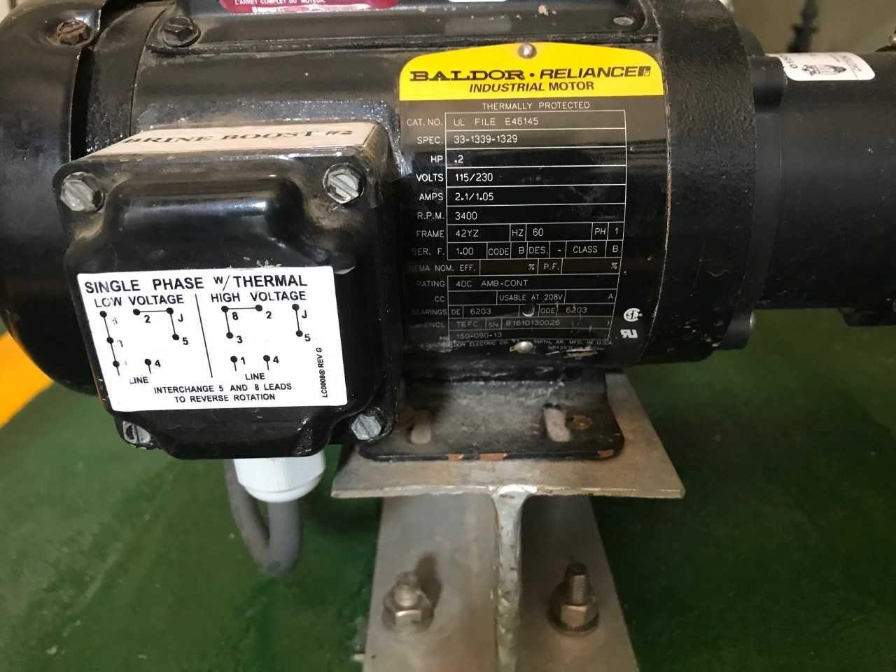 Baldor Reliance Brine Booster Pump 33 1339 1329 Electric Motor Drip Coffee Maker High Voltage