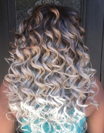 Curly ombre dyed hair