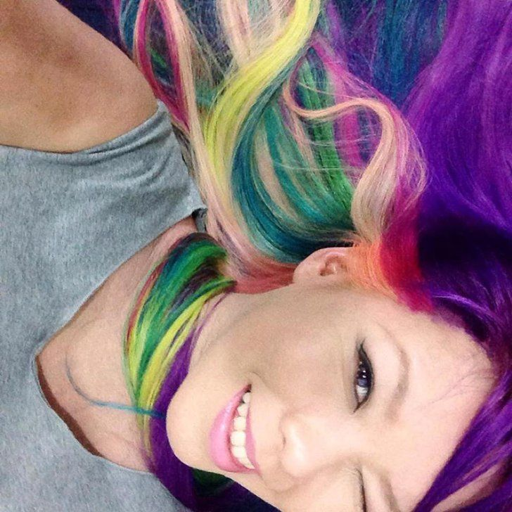 Pin for Later: 101 Real Girls Who Dare to Rock Rainbow Hair Brilliant Blowout Source: Reddit user audrakay