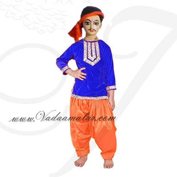 9b1546016 Childrens Indian Folk Dance Boys Kurtha Salwar Pant Style Costume ...