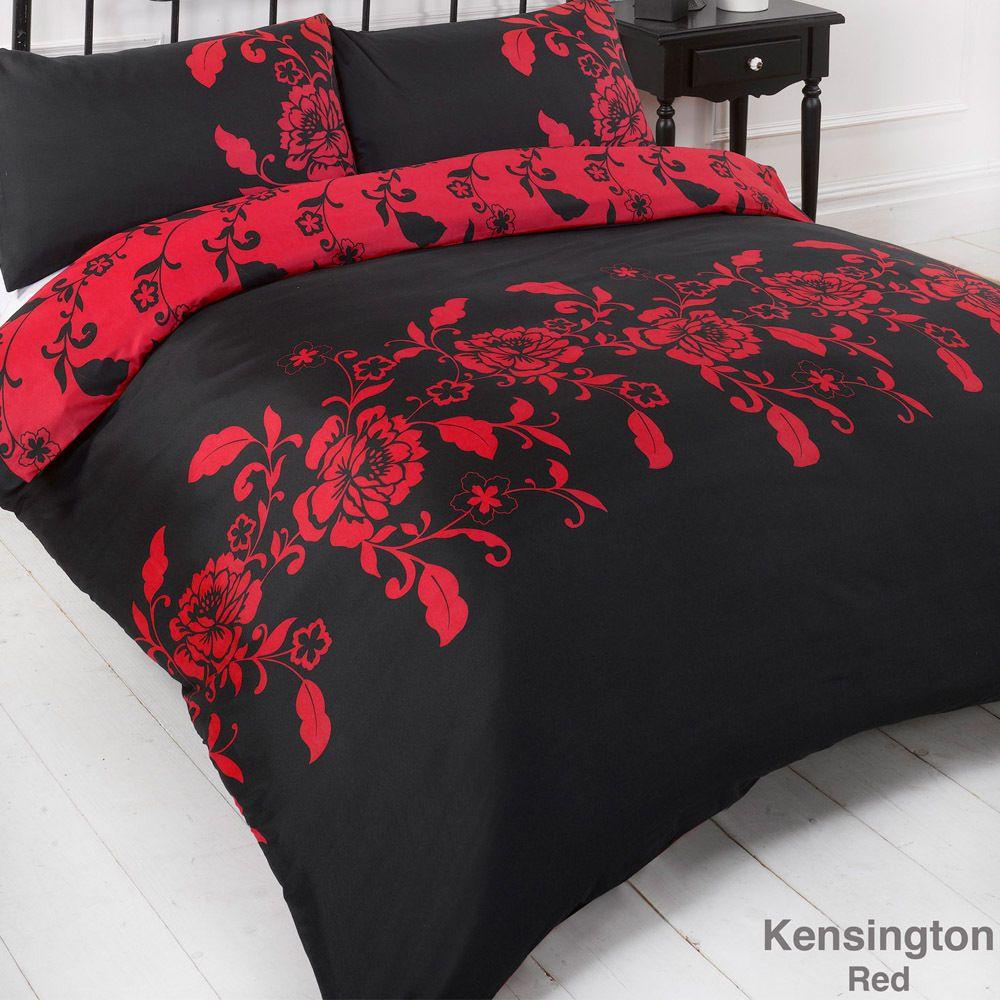 Parure De Lit Housse De Couette Set Kensignton Rouge Noir D Co