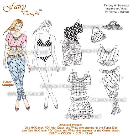 Fashion Paper Doll Kit To Color By Norma Burnell 8x10 Coloring Book Page With Dolls And Outfits