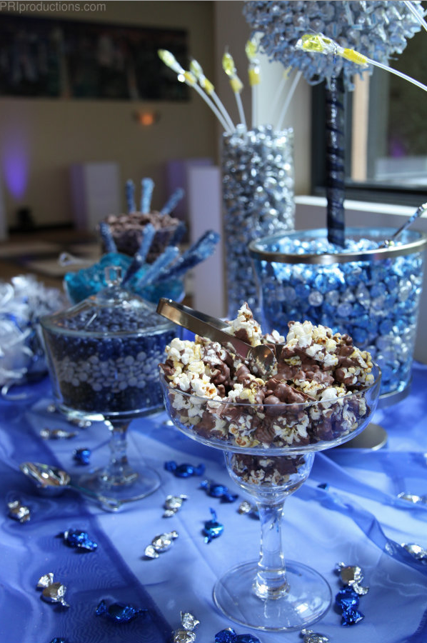 Blue Silver And Brown Color Themed Candy Bar Birthday Candy Table Starry Night Prom Candy Bar
