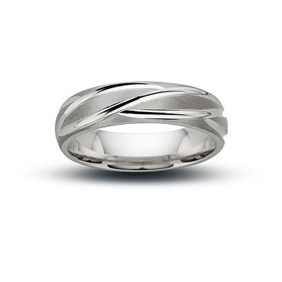 Men S Feather Wedding Band In White Gold View All Rings Zales