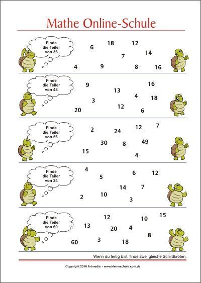 finde die teiler von mathe aufgaben f252r die 3 klasse