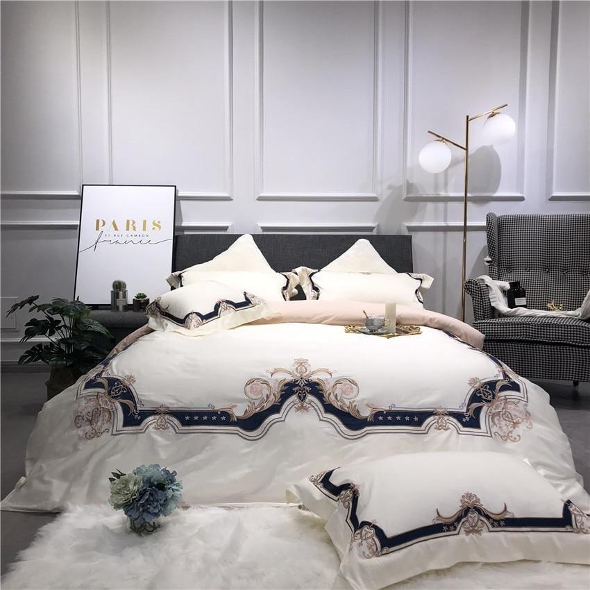 Egyptian Cotton Luxury European Bedding Set 2 Colors White Bed