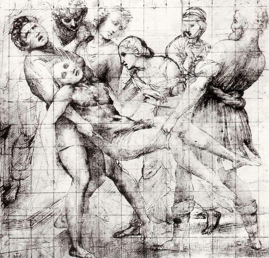 Raffaello Sanzio - Modello for the Entombment  (c.1507)  Pen and ink over stylus and black chalk, 289 x 298mm  Galleria degli Uffizi, Florence