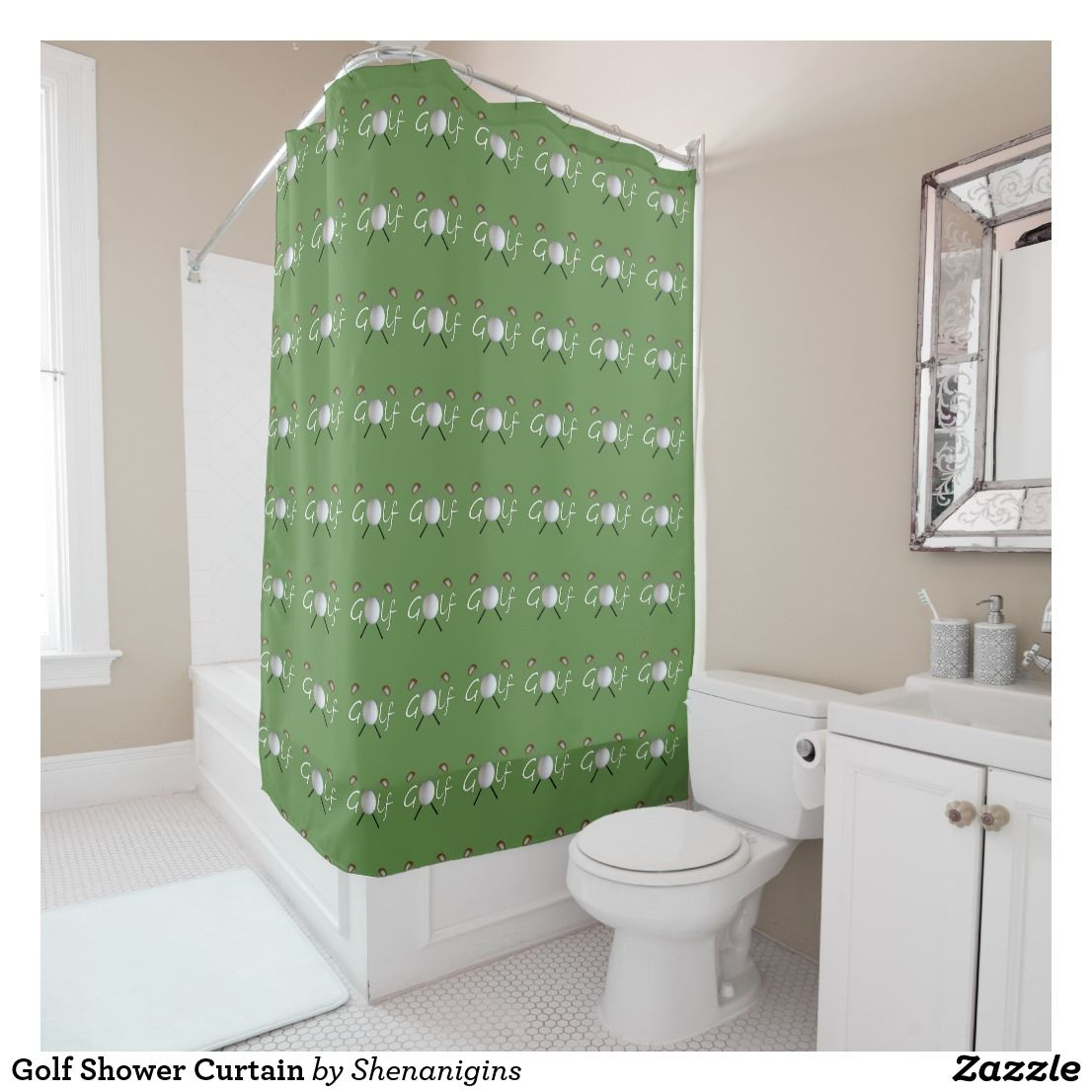 Golf Shower Curtain We Also Have A Matching Bath Mat Towels And Soap Toothbrush Dispenser GolfBall GolfClubs ShowerCurtain Bathroom