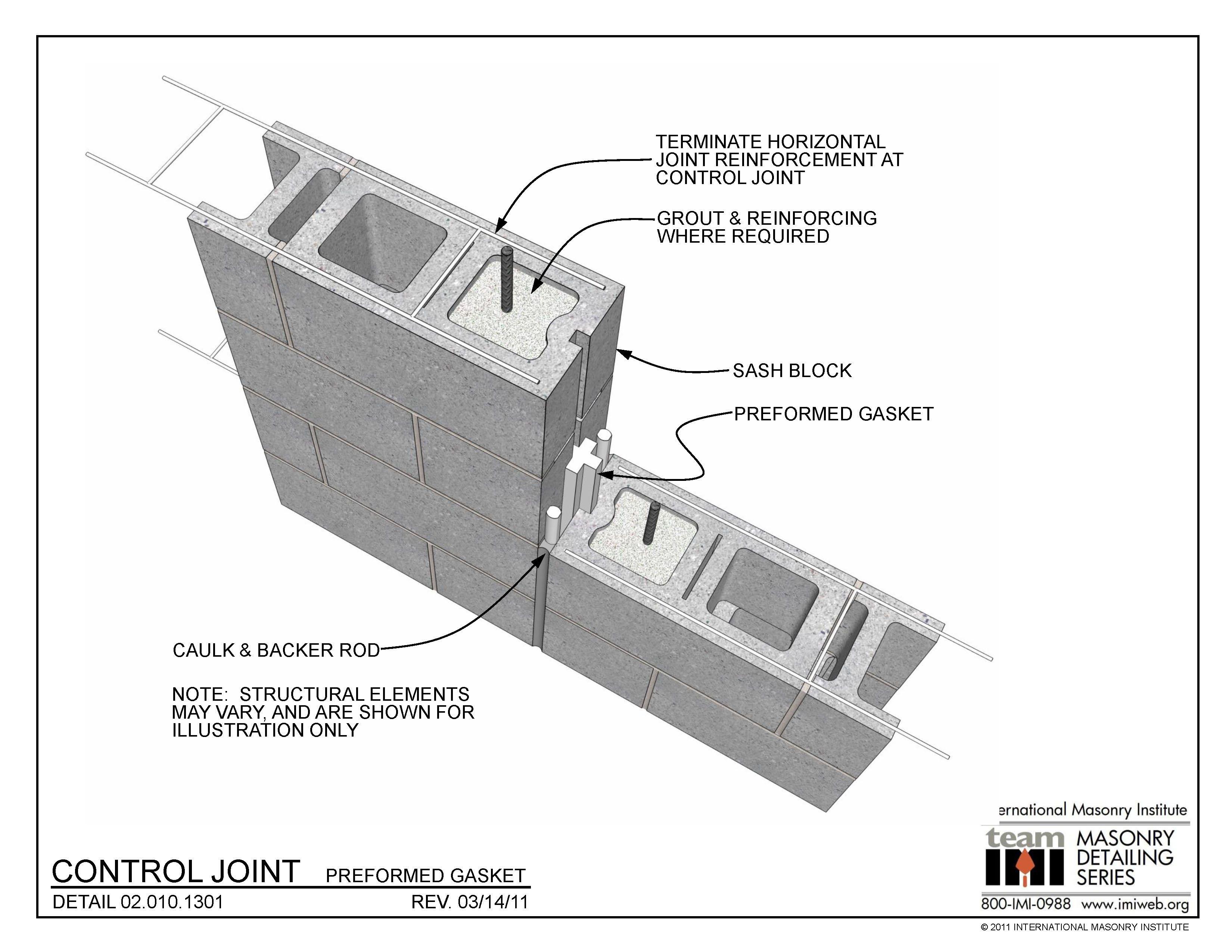 02 010 1301 Control Joint Preformed Gasket International Masonry Institute Masonry Masonry Wall Wall Systems