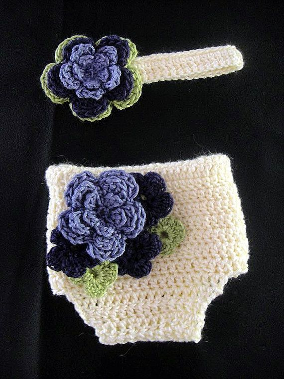 Crochet Flower Diaper Cover with Matching Headband by SnuggleBugBoutique1, $35.00