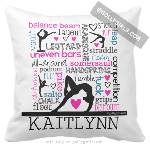 """Gymnastics themed throw pillow with the text, """"GYMNASTICS is my LIFE"""" in pink, blue, and purple. It also has a gymnast silhouette above the words! - THIS DESIGN IS ©gollygirls.com - ALL RIGHTS RESERVE"""