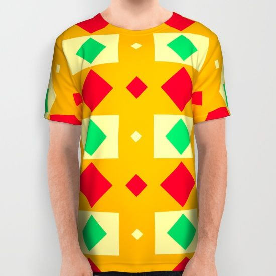 Green red yellow rhombus pattern All Over Print Shirt by Laly_sb