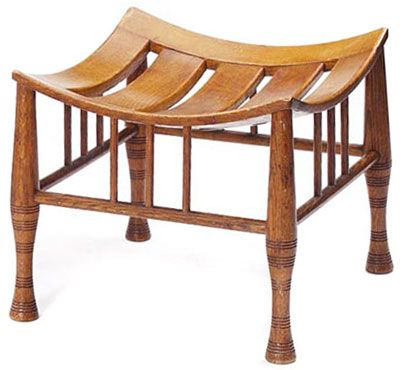 """Arts & Crafts Thebes stool, concave slatted seat over three spindles at each side on turned legs, refinished, 16""""w x 16""""d x15""""h [c. 1890-1910]   