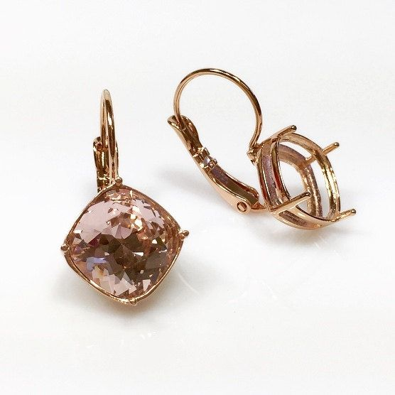 10mm Square Rose Gold Plated Bezel Lever Back Earrings Settings Fit