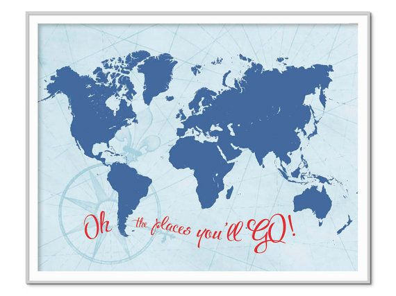 World map poster oh the places youll go world map print boys world map poster oh the places youll go world map print gumiabroncs Gallery