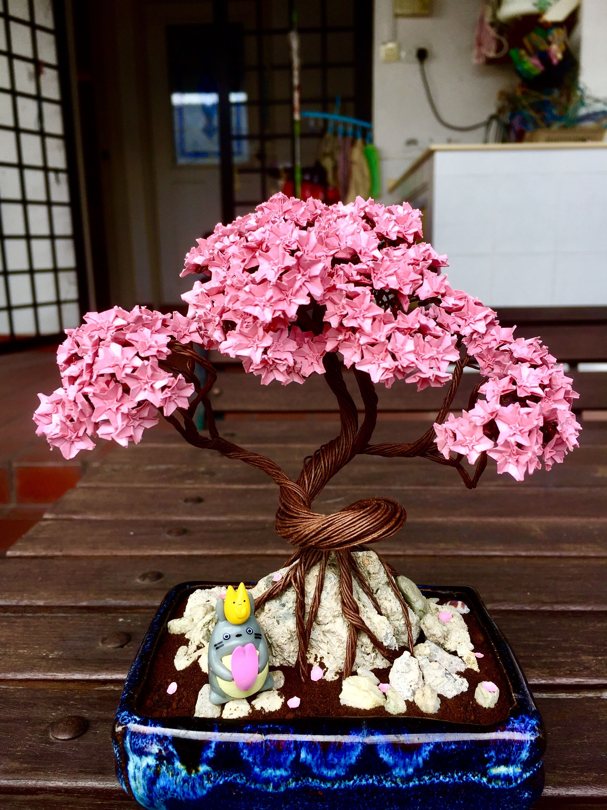 294 Origami Sakura Flowers With A Wired Bonsai Tree Bonsai Tree Origami Flowers Sakura Flower