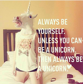 XD this is omfg she is doing both at the same time...She is being a unicorn yet being herself