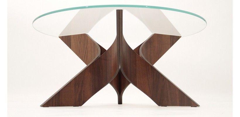 Table Basse Ronde Design Astoria - Chêne / Noyer - Diamètre 90 cm