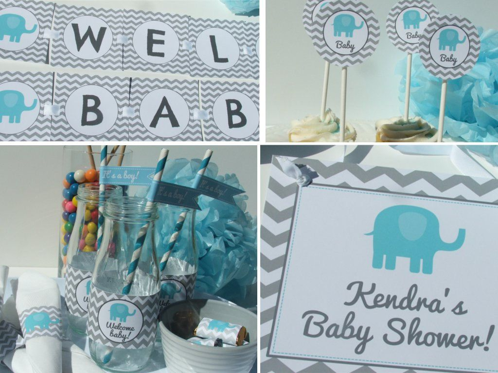Elephant Baby Shower Decorations Party Package Blue Gray Chevron BE52  Printable