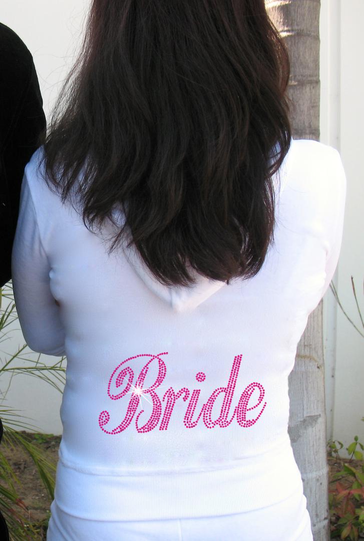 Rhinestone Velour Bride Tracksuit - Custom Wedding Apparel - Bride ...