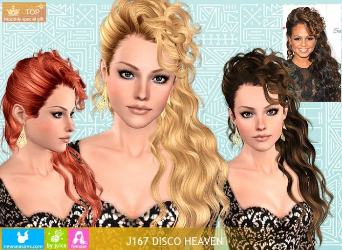 Newsea J167 Disco Heaven Long Side Wavy Hair By Juice Sims 3 Downloads Cc Caboodle Sims 3 Sims Hair Sims