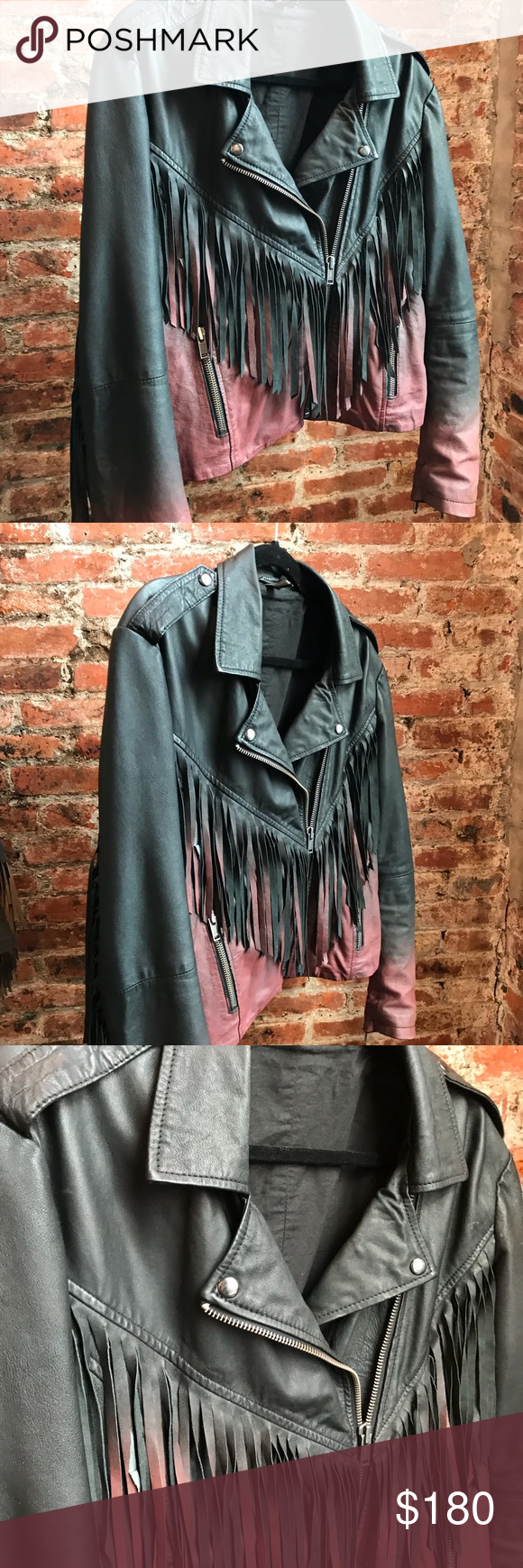 women's real leather fringe ombré jacket Ombre