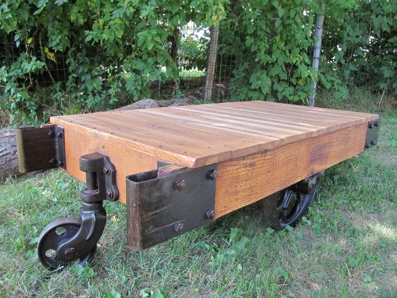 Vintage Industrial Cart Coffee Table by SalvageDemo on Etsy, $495.00
