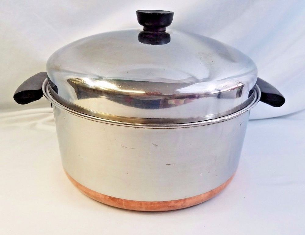 Revere Ware 6 Qt Stainless Steel Copper Bottom Stock Pot Dutch Oven And Dome Lid Revereware Copperclad Revere Ware Revere Stock Pot